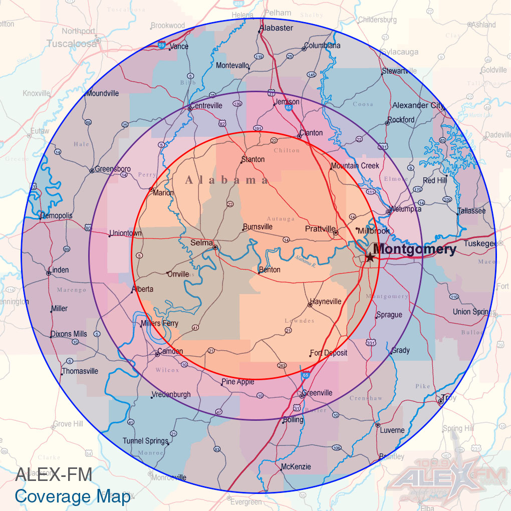 ALEX-FM Coverage Map
